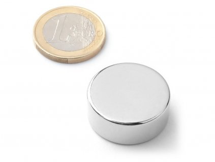 Neodymový magnet valec D25x10 mm, Neodym, N40, ponikelovaný