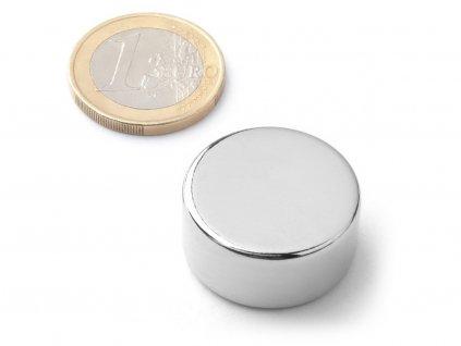 Neodymový magnet valec D25x12 mm, Neodym, N38, ponikelovaný