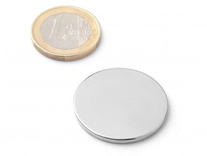 Neodymový magnet valec D30x2 mm, Neodym, N38, ponikelovaný