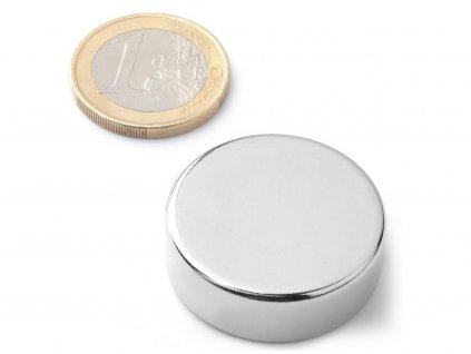Neodymový magnet valec D30x10 mm, Neodym, N45, ponikelovaný