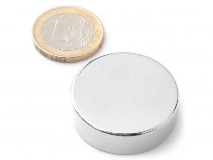 Neodymový magnet valec D33x10 mm, Neodym, N42, ponikelovaný