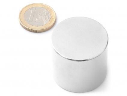 Neodymový magnet valec D33x30 mm, Neodym, N42, ponikelovaný