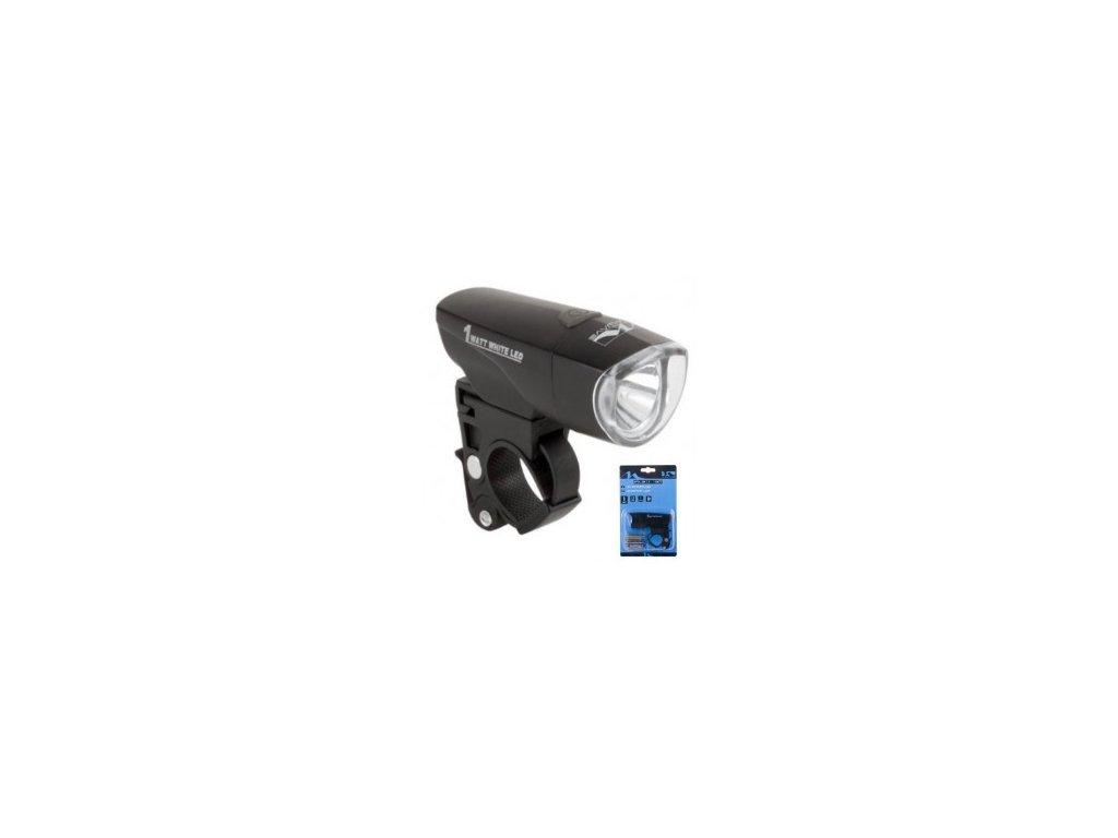 Světlo přední M-WAVE Apollon 1 Watt LED, 3F, černé