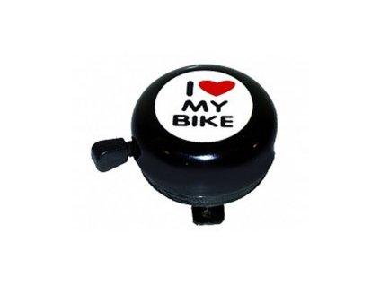"""Zvonek ocel černý """"I love my bike"""""""