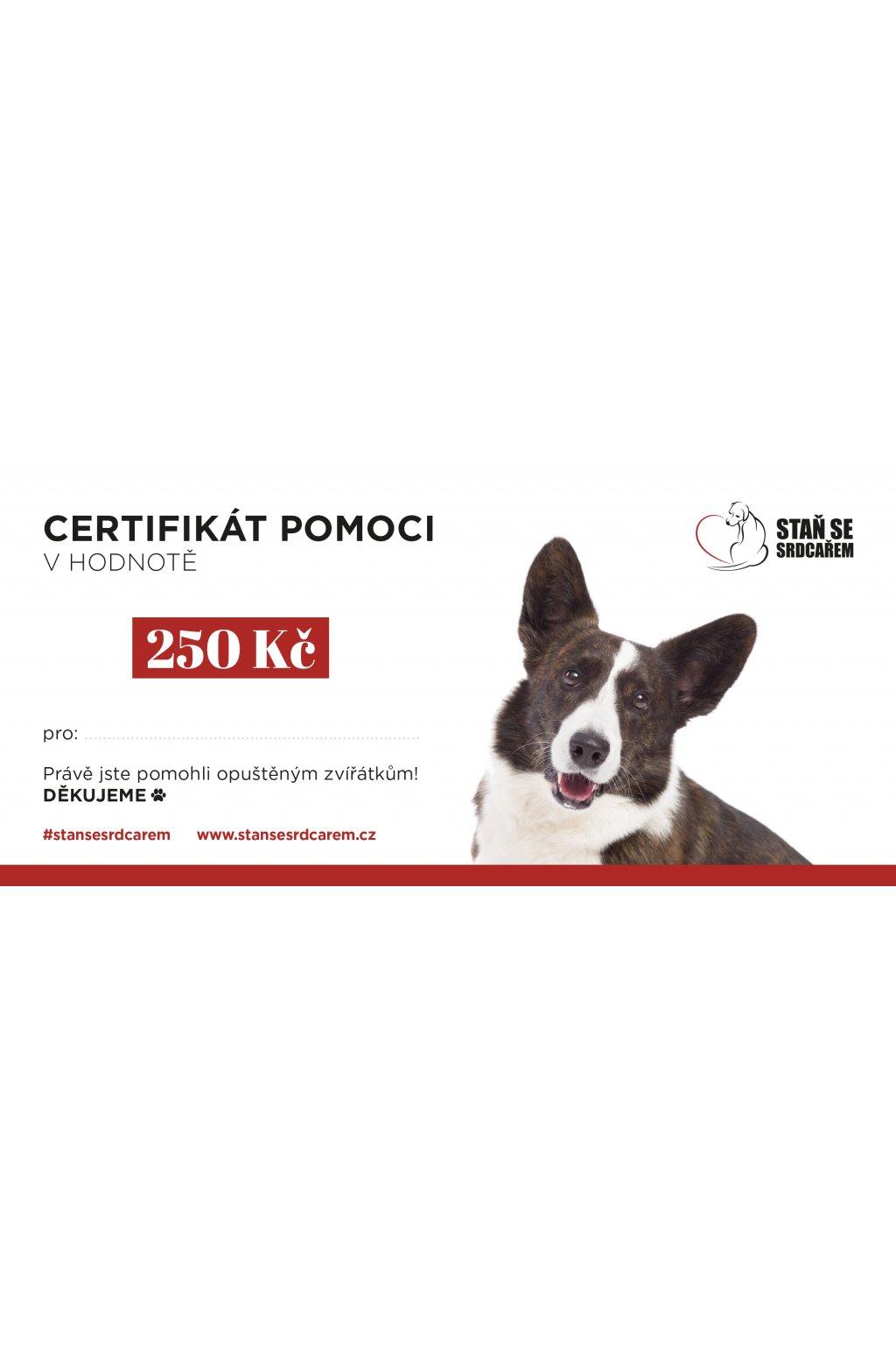 certifikát pomoci 250Kč