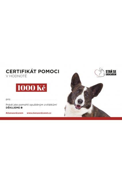 certifikát pomoci 1000Kč