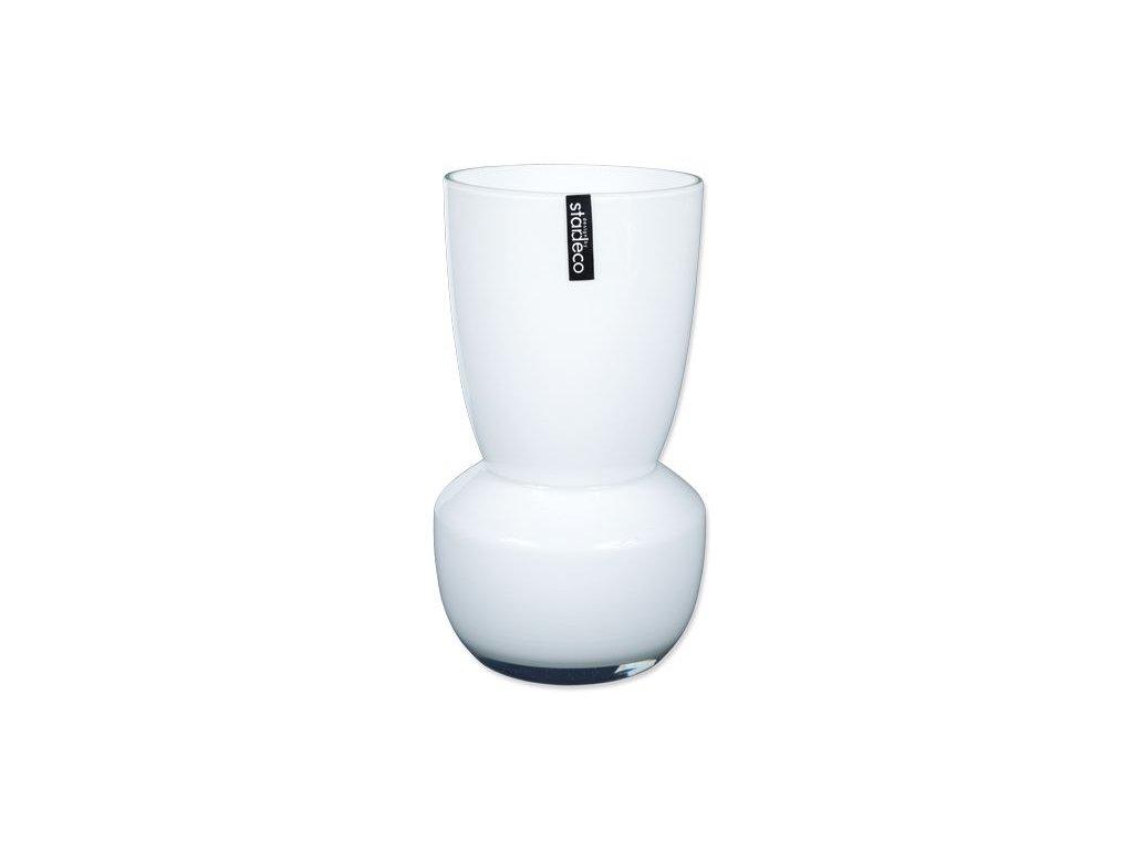 Skleněná váza Stardeco Rolin bílá 25 cm