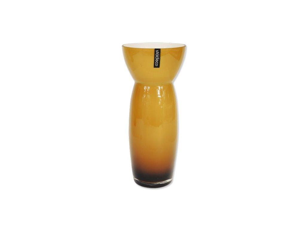Skleněná váza Stardeco Sapien hnědá 33 cm