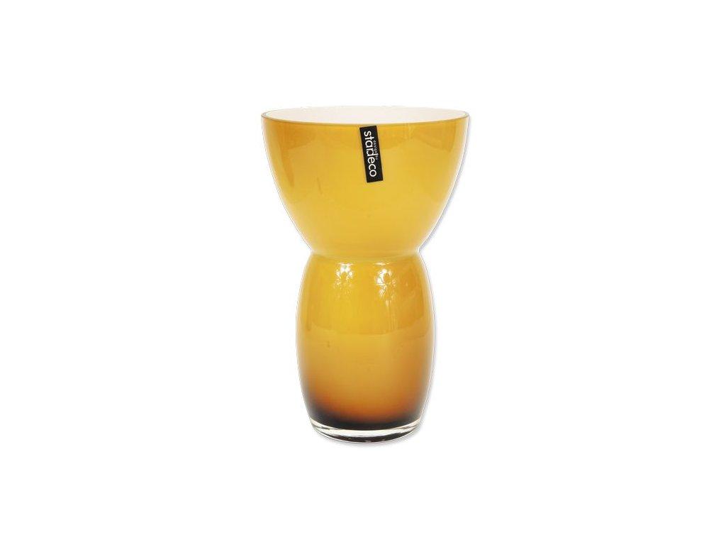 Skleněná váza Stardeco Fornio hnědá 25 cm
