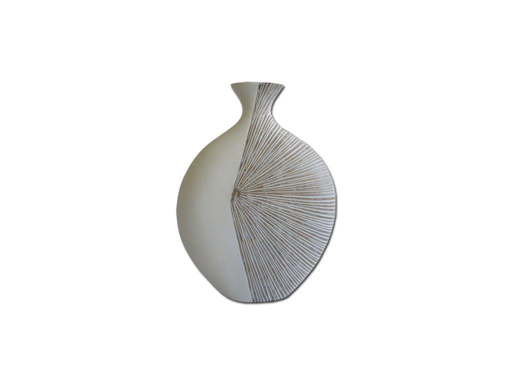 Polyresinová váza - bílá vzor 44 cm