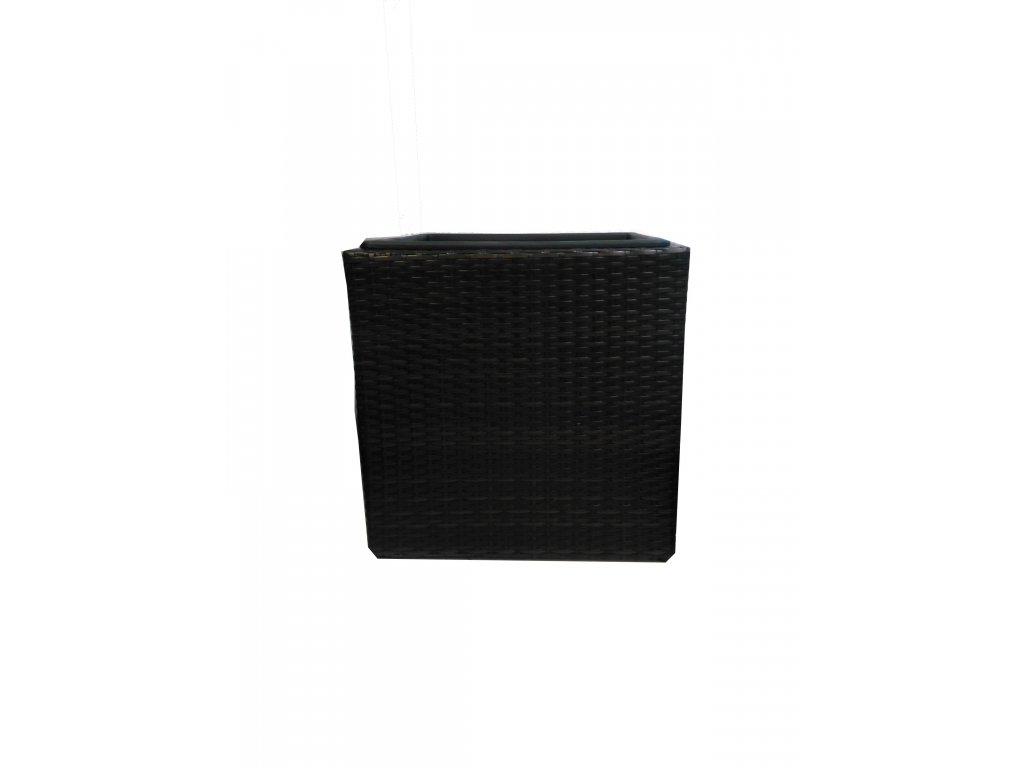 Polyratanový květináč Block Design 46 cm hnědý