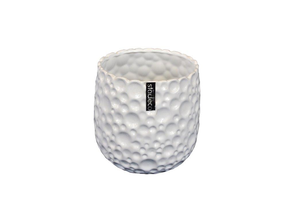 Keramický květináč Stardeco Timber bílý, 18 cm