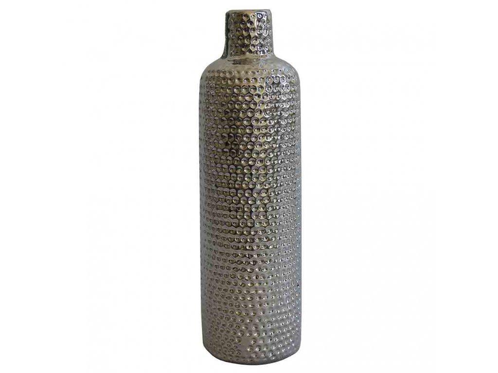 Keramická stříbrná váza 30 cm