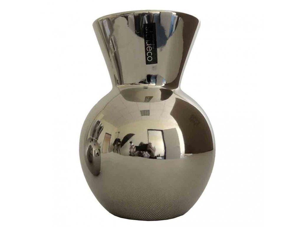 Keramická stříbrná váza malá  12 cm