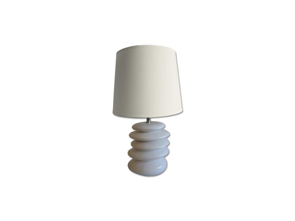 Stojací lampa Stardeco bílá s kameny 43 cm