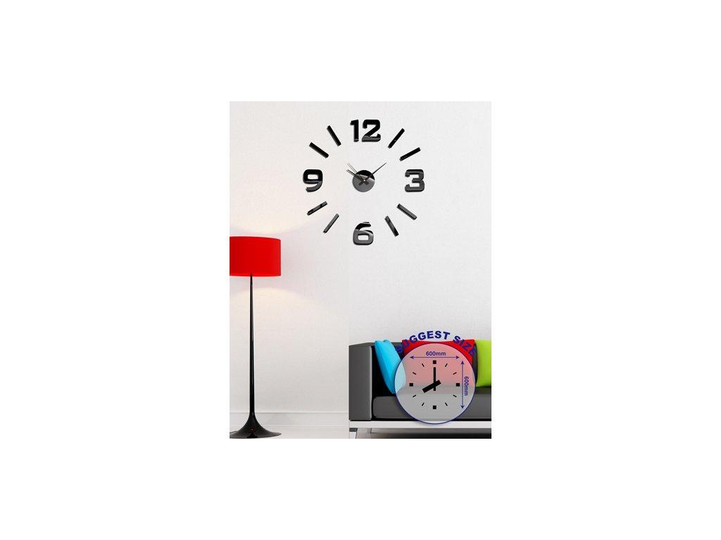 Nástěnné samolepící hodiny Stardeco HM-10ME101B - černé, lesklé
