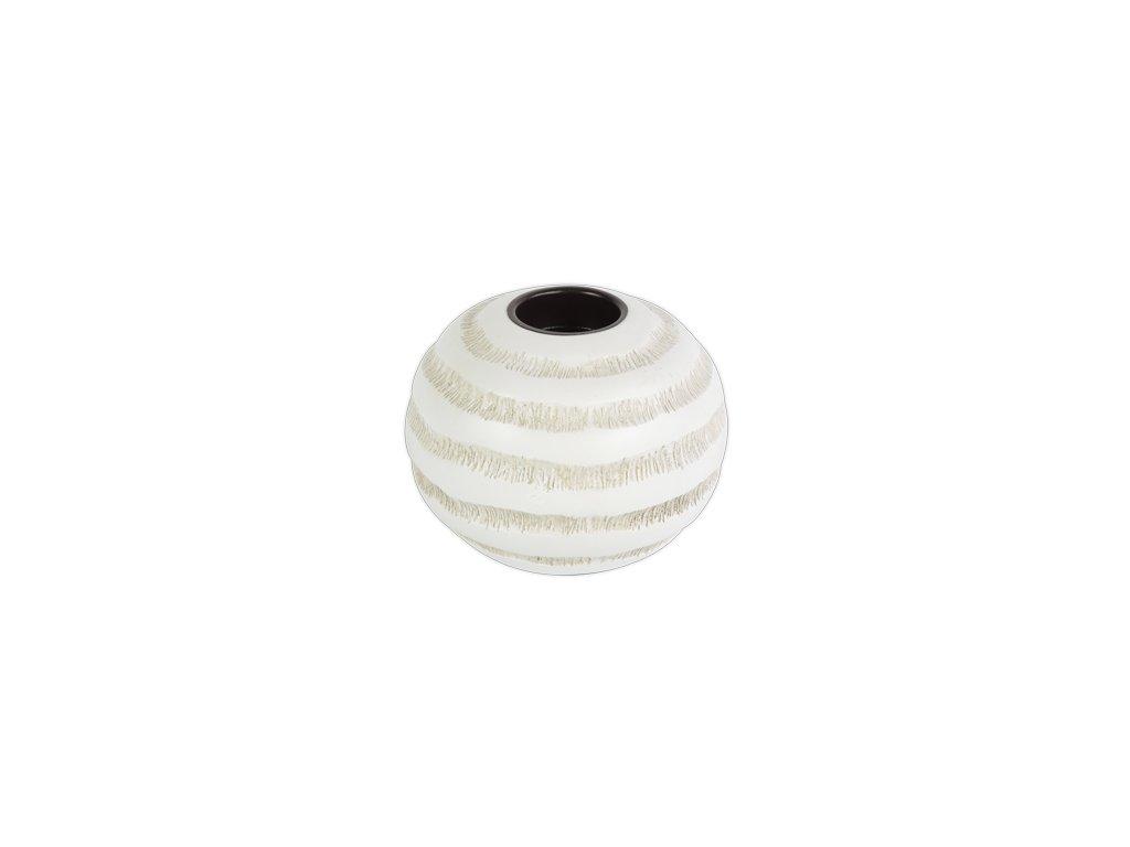 Polyresinový svícen Stardeco bílý s hnědým vzorem 12 cm
