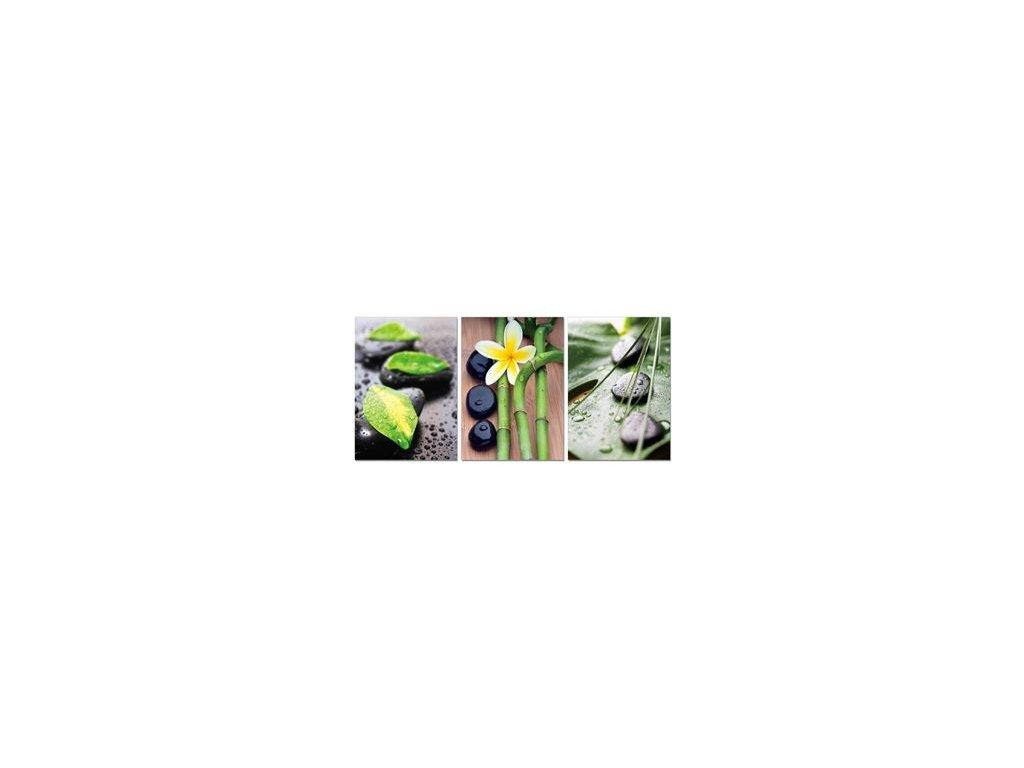 Sada obrazů 3 ks Autronic - černé oblázky