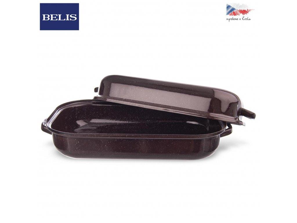 Pekáč smalt hnědý BELIS 32,5 x 20,5 cm s víkem