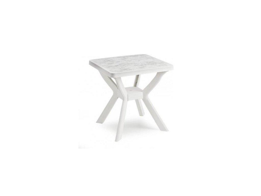 Zahradní plastový stůl Reno bílý mramor 70x70x72 cm