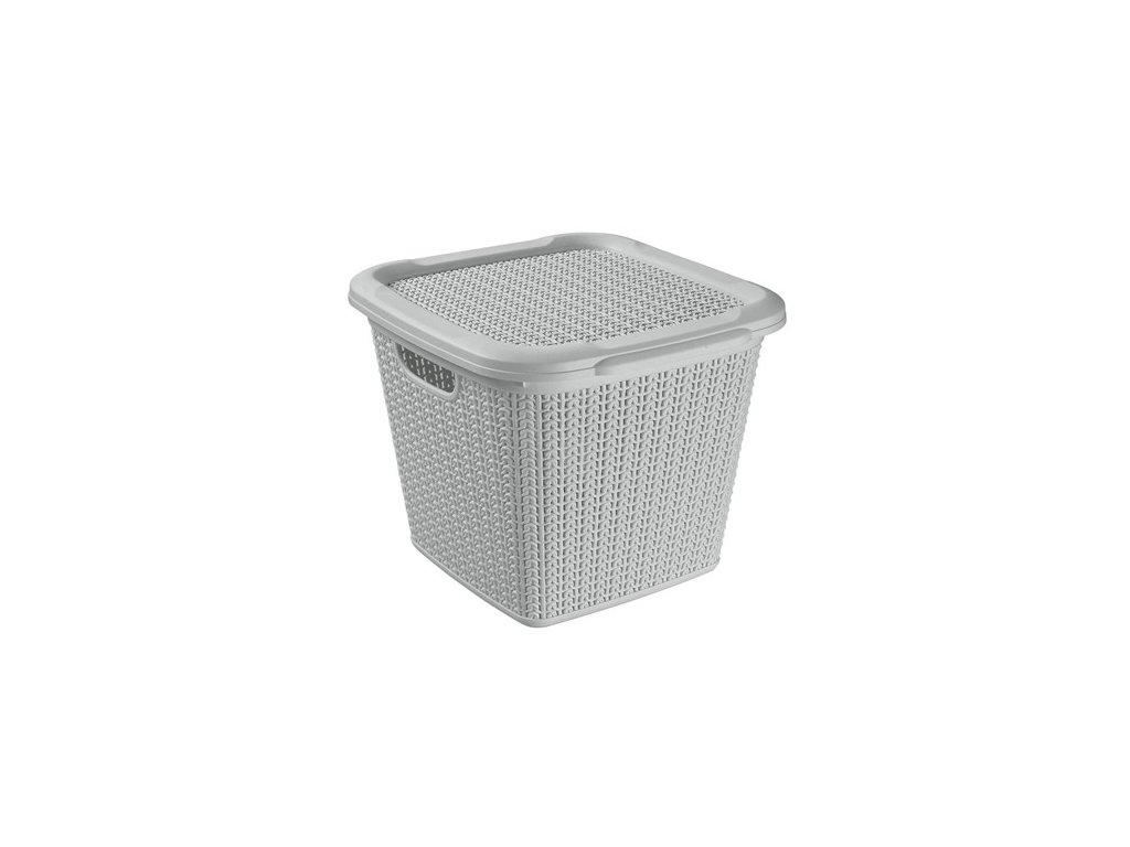 BRILANZ Box ratanový s víkem 15 l, 30 x 30 x 27,5 cm, šedý