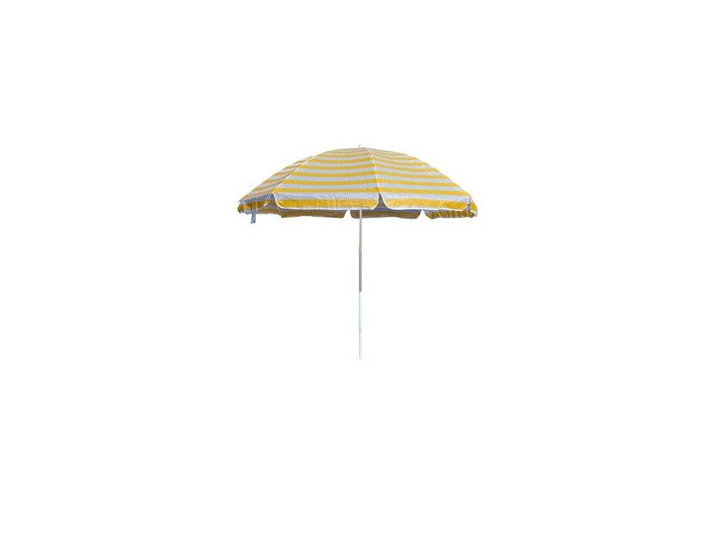 Plážový slunečník Happy Green 230 cm žluté pruhy