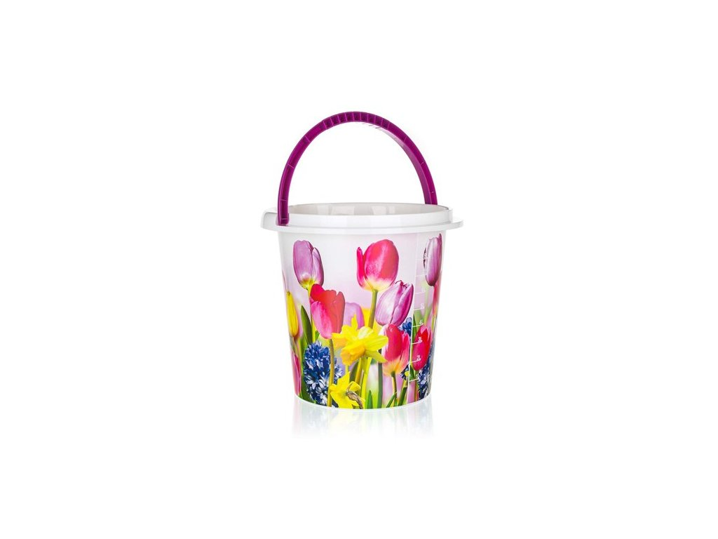 BRILANZ Kbelík plastový 10 L, tulipány, BRILANZ, 29x27,5 cm