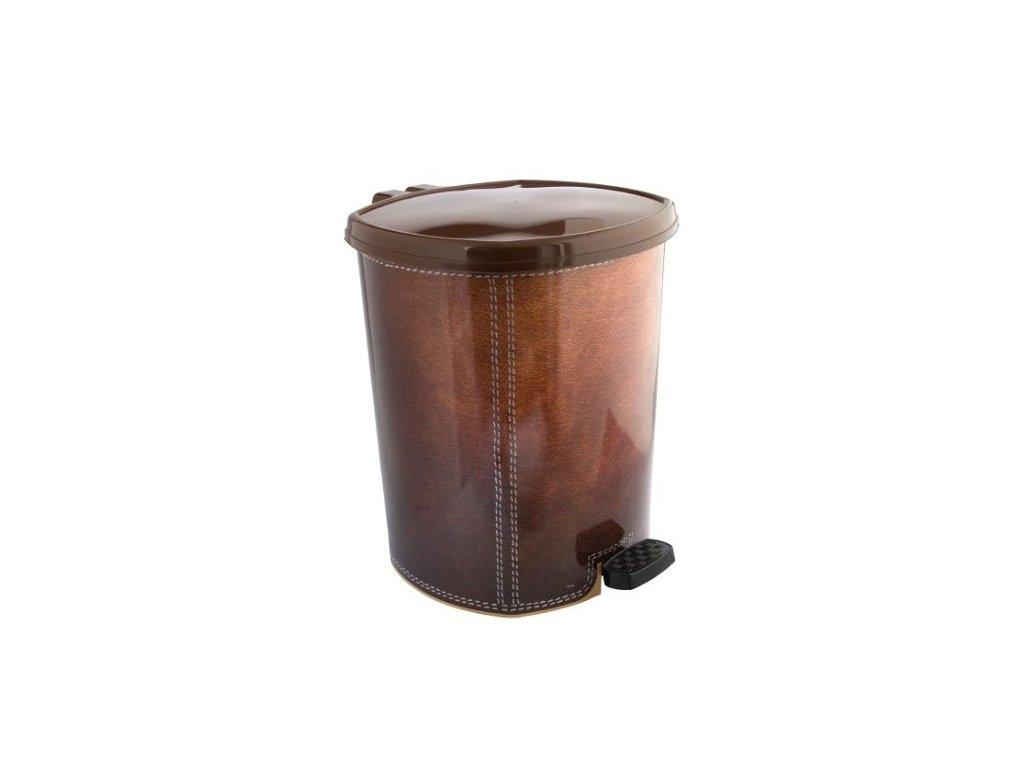 Plastový odpadkový koš 20 l kůže tmavě hnědá