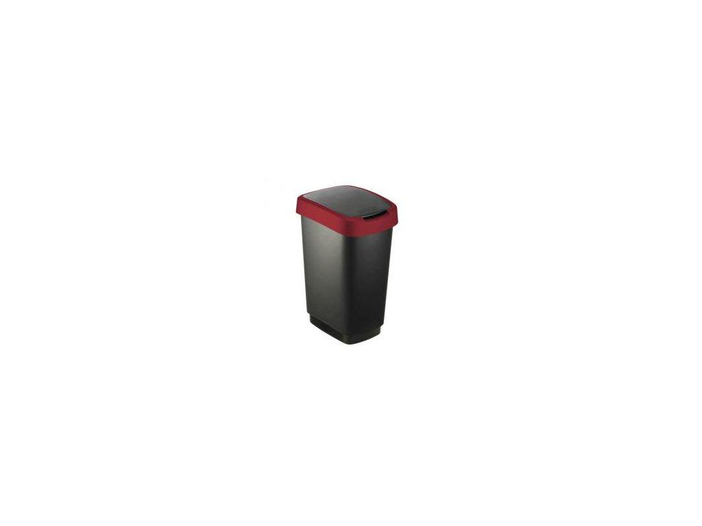 Odpad. koš TWIST 10l černý/červený - výklopný