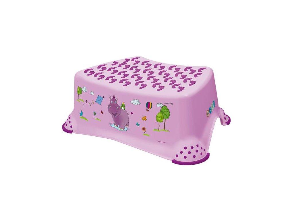 Dětská stolička HIPPO s motivem hrošíka  - lila