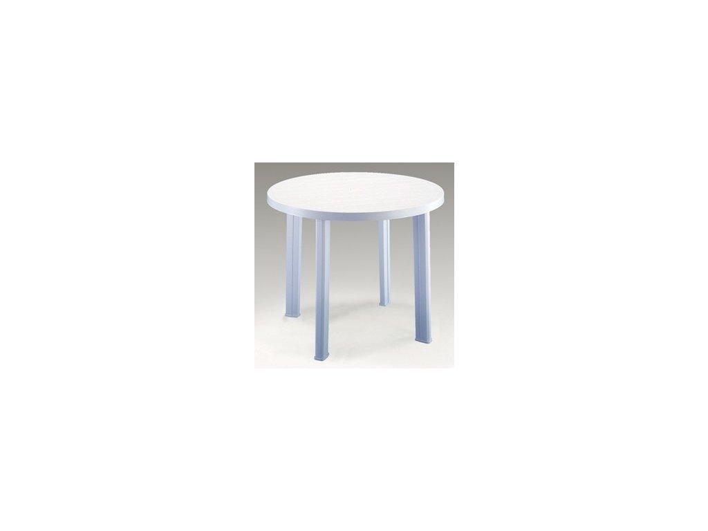 Zahradní plastový kulatý stůl TONDO bílý