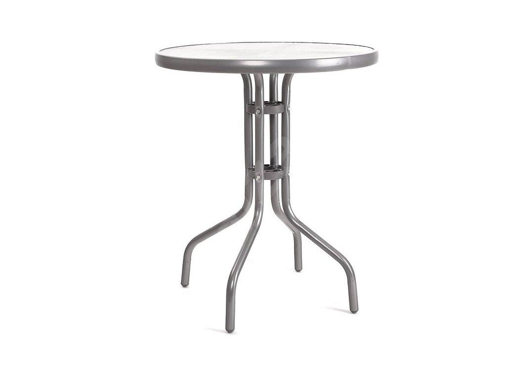 HAPPY GREEN Stůl kovový se skleněnou deskou 60 cm, stříbrný