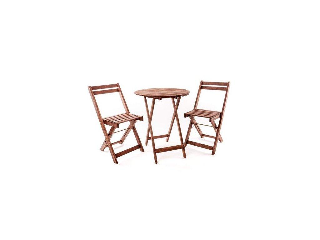 Balkonový dřevěný set Happy Green Acacia 3-dílný, kulatý stůl
