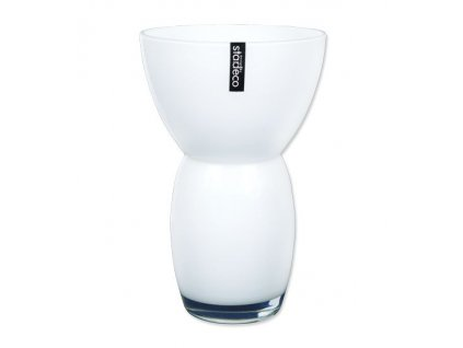 Skleněná váza Stardeco Fornio bílá 25 cm