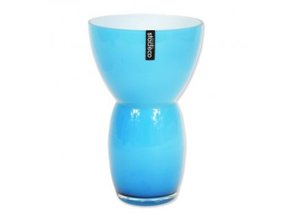 Skleněná váza Stardeco Fornio modrá 25 cm