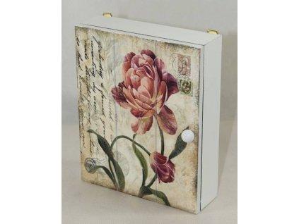 Dřevěná skříňka na klíče s kytičkou