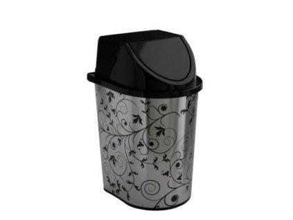 Plastový odpadkový koš 5,7 l stříbrný dekor listy