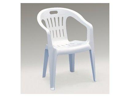 Zahradní plastová židle PIONA bílá nízká