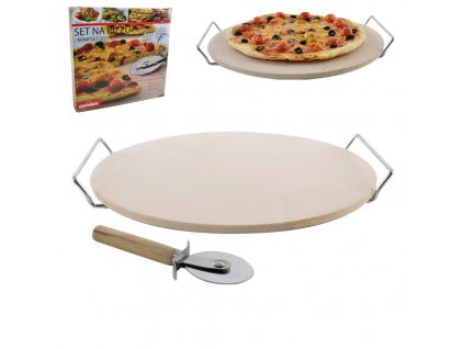 Pizza set kamenina/ drát + kráječ