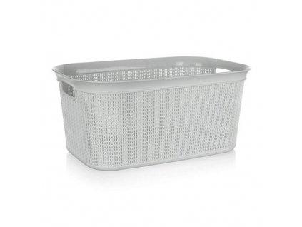 Koš na prádlo ratanový 38 l, 56,6 x 36,6 x 25,5 cm, šedý