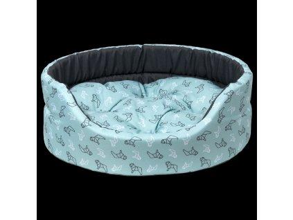 0204452 pelech dog fantasy oval 60x51x17cm origami pes tyrkysovy