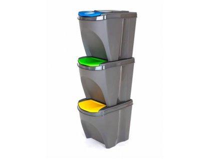 Sada odpadkových košů SORTIBOX 25l, 3 ks, šedý kámen