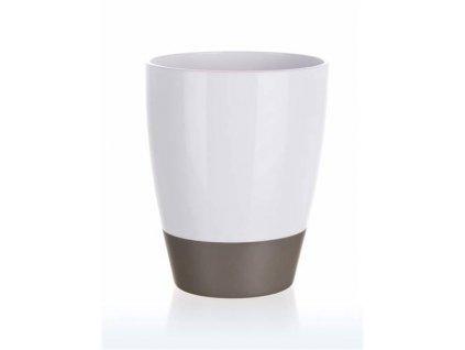 Kelímek na kartáčky plastový oválný 8,8 x v 11 cm, bílo-šedý