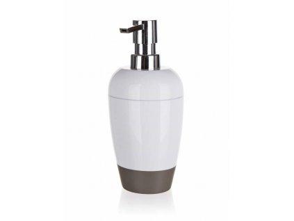 Dávkovač mýdla plastový oválný 8,8 x v 19 cm, bílo-šedý