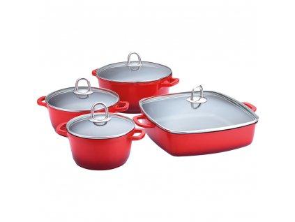 Keramická sada nádobí 8 kusů, červená LAMART