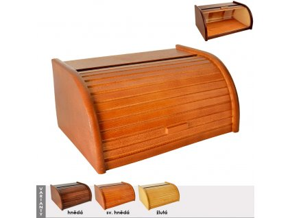 Dřevěná chlebovka Ambo 39x28x18 cm hnědá