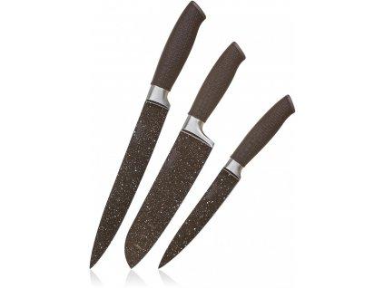 BANQUET Sada nožů s nepřilnavým povrchem 3ks PREMIUM DARK BROWN