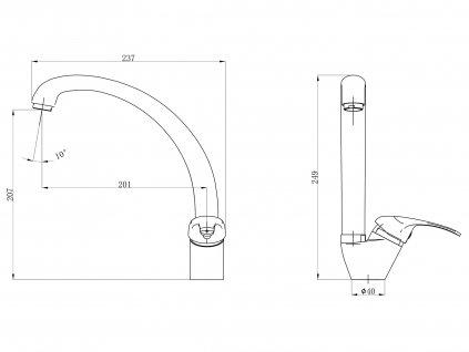 Dřezová baterie Balletto 81016 chrom
