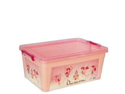 Box plastový 20l růžová víly 47x31x19,5cm