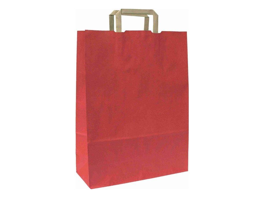 1802 papirova taska cervena s plochym papirovym uchem